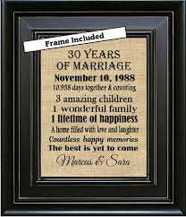 30th anniversary gift framed personalized 30th anniversary gifts 30th wedding