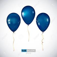 metallic balloons realistic 3d blue helium balloons isolated on white background