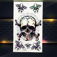 3d spider skull temporary tattoo brain box waterproof henna tattoo
