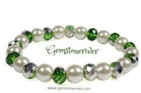 crystal pearl bracelet images Metallic green silver crystal ivory cream pearl bracelet jpg