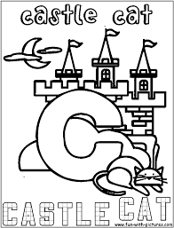 castle cat coloring page