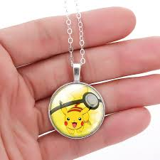 fine chain pendant necklace images Liebe engel new pokemon eevee necklace pokeball glass cabochon jpg