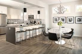 grey laminate flooring dining room contemporary with black pendant