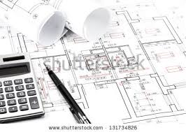and house plans drawing compass pencil on house floor stock photo 130455299