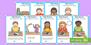 table manners table manners rules display posters spanish spanish table