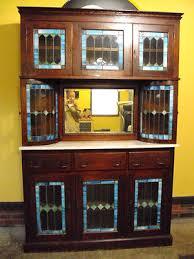 Oak Bar Cabinet Antique Stained Glass Oak Back Bar Cabinet Hutch Bar Glass