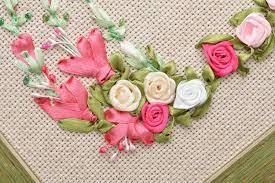 ribbon embroidery flower garden madeheart u003e beautiful handmade satin ribbon embroidery wall panel