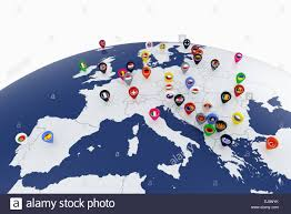 World Map Country Flags 3d Render Of Europe Map With Countries Flags Location Pins Stock