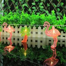 pink flamingo patio lights led string light coconut tree red flamingo light string set bbq