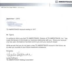 termination of my account td ameritrade quote problems execution