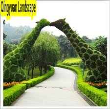 artificial topiary giraffe grass animal metal frame