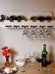 wall mounted small homemade wood wine rack with glass holder