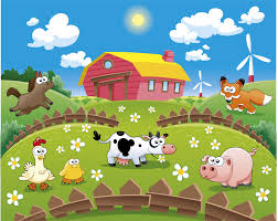 sunny farmyard scene with cartoon animals children s wall mural farmyard fun time with all the animals children s wall mural