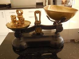 Old Fashioned Kitchen Reproduction Of Old Fashioned Kitchen Scales With Weights In