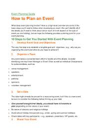 cover letter event planner event planning guide