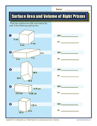 surface area and volume of right prisms 7th grade geometry