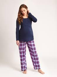 maternity nightwear navy check maternity pyjama bottoms jojo maman bebe