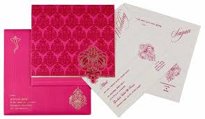 wedding cards india online indian wedding card in magenta fuchsia golden wedding