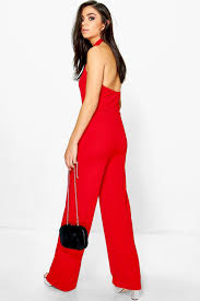 high neck jumpsuit boohoo womens beth high neck wide leg jumpsuit ebay