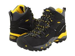 keen utility mens pittsburgh black yellow leather steel toe work