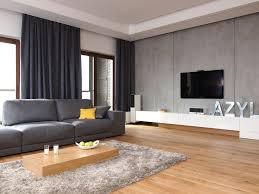 living living room interior screen flat tv hanging on grey wall