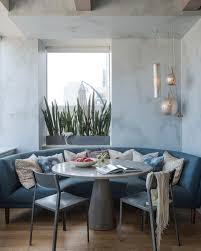 banquette with round table 12 ways to make a banquette work in your kitchen hgtv s decorating