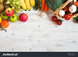 Wooden Table Top View Png Variety Fruits Vegetables On White Wooden Stock Photo 586088687