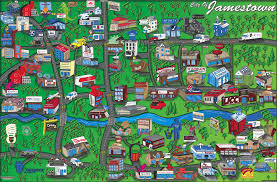 Downtown Phoenix Map by Cartoon Map Jamestown Ny