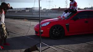 porsche panamera matte red behind the scenes with yg for his photoshoot with dub magazine
