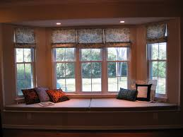 Bay Window Cushion Seat - bay window decorations with conservative white wooden window