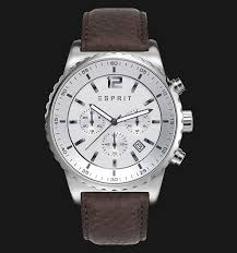 esprit es108231003 theon silver brown genuine leather band