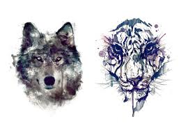 sets wolf and tiger temporary tattoos