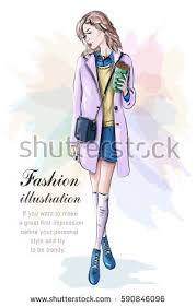 stylish woman fashion clothes bag sketch stock vector 590846096