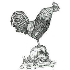 skull and rooster design