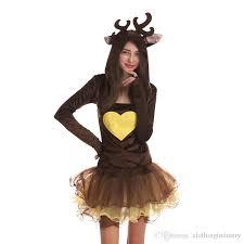 Female Dog Halloween Costumes 2017 Cute Xmas Reindeer Elk Cosplay Party Clothing Women Costumes