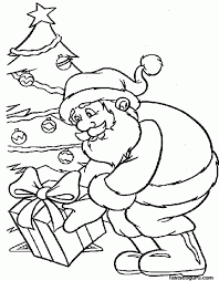 coloring page of christmas tree with presents santa cause presents under christmas tree coloring pages coloring home