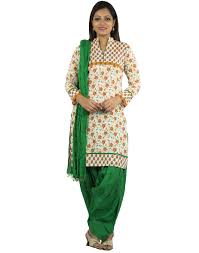 Flag Suit Kurti Cotton Complete Set Of Off White Kurta And Flag Green