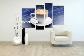 kitchen artwork modern 4 piece blue canvas white modern cup abstract large pictures