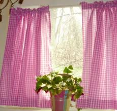 Fuchsia Pink Curtains Pink Fuchsia Gingham Kitchen Cafe Curtains