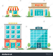 Types Of House Architecture Vector Illustration Different Types Buildings Cafe Stock Vector