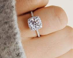 engagement rings cushion cut engagement ring etsy