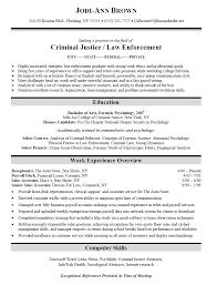 criminal justice law enforcement resume sample criminal justice