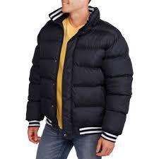 men s bubble er jacket with removable hood walmart