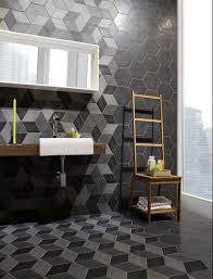 contemporary bathroom with geometric ceramic tiles for walls and