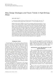 alloy design strategies and future trends in high entropy alloys