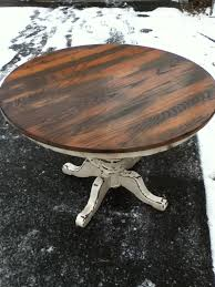 diy round kitchen table round dining table stripped and refinished on top with heavily diy