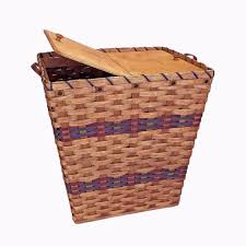 amish made large laundry wicker hamper basket with hinged lid