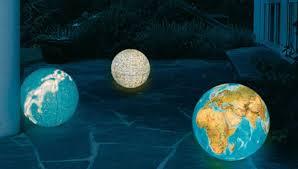 illuminated outdoor globes earth moon