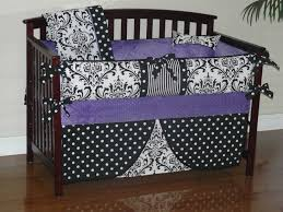 Black Baby Bed Ornate Black And White Baby Crib Bedding Set With Purple Reverse