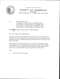 supervisor jimmy smith u0027s resignation letters lost coast outpost
